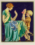 Mainstream Illustration, WALTER BEACH HUMPHREY (American, 1892-1966). Scaring Mother.Oil on canvas. 28.75 x 21.75 in.. Signed lower left . ...