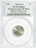 Errors, 1998 1C Lincoln Cent--Struck on Clad 10C Planchet--MS66 PCGS. Ex:Alfred V. Melson Collection.. From The Alfred V. Melson ...