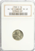 Errors, 1969-D 1C Lincoln Cent--On 10C Planchet--MS63 NGC.. From The Alfred V. Melson Collection, Part Two....