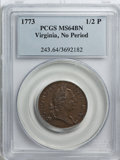 Colonials, 1773 1/2P Virginia Halfpenny, No Period MS64 Brown PCGS....