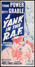 "Movie Posters:War, A Yank in the R.A.F. (20th Century Fox, R-1953). Three Sheet (41"" X81""). War.. ..."