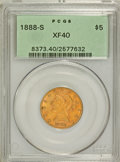 Liberty Half Eagles: , 1888-S $5 XF40 PCGS. PCGS Population (23/198). NGC Census: (8/301).Mintage: 293,900. Numismedia Wsl. Price for problem fre...