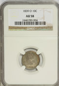 Seated Dimes: , 1839-O 10C No Drapery AU58 NGC. NGC Census: (13/37). PCGSPopulation (9/20). Mintage: 1,323,000. Numismedia Wsl. Price for...