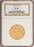 Liberty Eagles: , 1853-O $10 VF30 NGC. NGC Census: (2/227). PCGS Population (2/160).Mintage: 51,000. Numismedia Wsl. Price for problem free ...