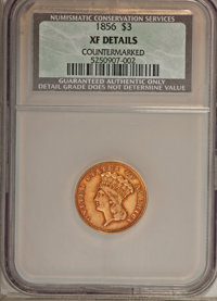 1856 $3 --Countermarked--XF40 NCS. XF Details. NGC Census: (15/611). PCGS Population (12/424). Mintage: 26,010. Numismed...