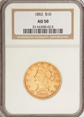 Liberty Eagles: , 1852 $10 AU50 NGC. NGC Census: (78/342). PCGS Population (51/88).Mintage: 263,106. Numismedia Wsl. Price for problem free ...