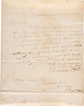 "Autographs:U.S. Presidents, Franklin Pierce Autograph Letter Twice Signed. One page, 8"" x 10"",January 10, 1833, Hillsborough, New Hampshire, to Alpheus..."