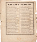 "Miscellaneous:Broadside, Circular: ""Essence Pedler."" One page, 8.5"" x 9.5"", n.d.,n.p. Eighteen stanzas, each ending with ""For a little mon..."