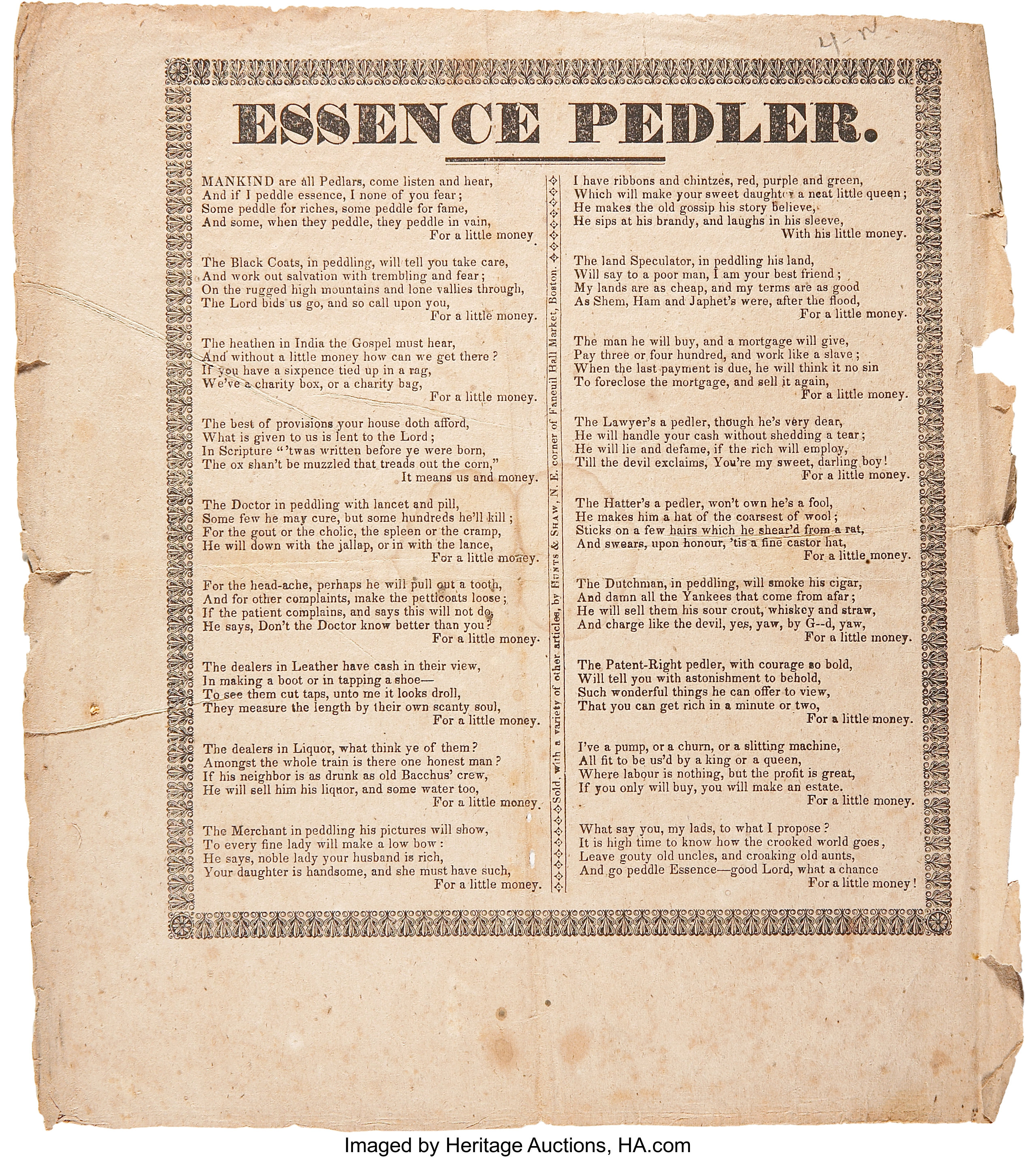 "Circular: ""Essence Pedler."" One page, 8.5"" x 9.5"", n.d., n.p. 