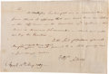 "Autographs:Statesmen, Aaron Burr Autograph Letter Signed. One page, 7.5"" x 5"", May 15,1789, ""N York"", concerning legal content on a previous ..."