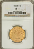 Liberty Eagles: , 1885-S $10 MS61 NGC. NGC Census: (276/236). PCGS Population(125/297). Mintage: 228,000. Numismedia Wsl. Price for problem ...