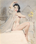 Pin-up and Glamour Art, ERNEST CHIRIACKA (American, b. 1920). Boudoir Pin-Up, calendarillustration, c. 1953. Mixed media on board. 19.5 x 15.75...