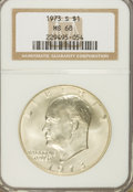 Eisenhower Dollars: , 1973-S $1 Silver MS68 NGC. NGC Census: (94/1). PCGS Population(770/2). Mintage: 869,400. Numismedia Wsl. Price for problem...