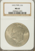 Eisenhower Dollars: , 1972 $1 Type Two MS63 NGC. NGC Census: (192/1818). PCGS Population(398/1500). Mintage: 75,890,000. Numismedia Wsl. Price f...