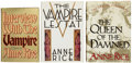 Books:Signed Editions, Anne Rice. The First Three Books in the Vampire Chronicles, AllSigned First Editions, including: Interview With the Vam...(Total: 3 Items)