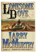 Books:First Editions, Larry McMurtry. Lonesome Dove. New York: Simon &Schuster, [1985].. First edition. Inscribed by McMurtry on ti...