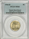 Jefferson Nickels, 1944-D 5C MS66 PCGS. Ex: Omaha Bank Hoard. PCGS Population(1399/87). NGC Census: (1725/1949). Mintage: 32,309,000. Numisme...