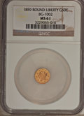 California Fractional Gold: , 1859 50C Liberty Round 50 Cents, BG-1002, High R.4, MS61 NGC. NGCCensus: (2/10). PCGS Population (2/44). (#10831)...