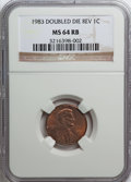 Lincoln Cents, 1983 1C Doubled Die Reverse MS64 Red and Brown NGC. (#3055)...