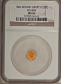 California Fractional Gold: , 1866 25C Liberty Round 25 Cents, BG-804, R.4, MS63 NGC. NGC Census:(5/6). PCGS Population (15/52). (#10665)...