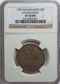 Colonials: , 1787 COPPER Connecticut Copper, Mailed Bust Left VF30 NGC. NGCCensus: (6/19). PCGS Population (6/28). (#349)...