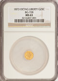 California Fractional Gold: , 1873 25C Liberty Octagonal 25 Cents, BG-728, R.3, MS63 NGC. NGCCensus: (5/15). PCGS Population (31/112). (#10555)...