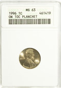 Errors, 1996 1C Lincoln Cent--On 10C Planchet--MS63 ANACS.. From The Alfred V. Melson Collection, Part Two....