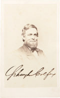 "Photography:CDVs, Schuyler Colfax Signed Brady Carte de Visite , 2.5"" x 4"", n.d. The signature of President Grant's vice presiden..."