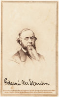"""Photography:CDVs, Edwin M. Stanton Carte de Visite Signed, 2.5"""" x 4"""", with a Brady & Co. printed date of 1865. Printed on vers..."""