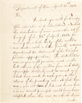 "Autographs:Statesmen, John C. Calhoun Letter Signed as U.S. Secretary of War. Two pages,7.75"" x 10"", April 11, 1818, ""Department of War,"" to ..."
