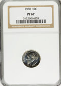 Proof Roosevelt Dimes: , 1950 10C PR67 NGC. NGC Census: (216/41). PCGS Population (209/4).Mintage: 51,386. Numismedia Wsl. Price for problem free N...