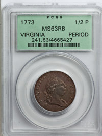 1773 1/2P Virginia Halfpenny, Period MS63 Red and Brown PCGS. PCGS Population (84/90). NGC Census: (13/27). (#241) Fro...