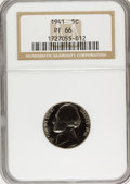 Proof Jefferson Nickels: , 1941 5C PR66 NGC. NGC Census: (374/62). PCGS Population (516/82).Mintage: 18,720. Numismedia Wsl. Price for problem free N...