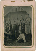 Boxing Cards:General, 19th Century Tintype Photo of Boxing Scene With Paper Holder. ...