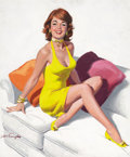 Pin-up and Glamour Art, ARTHUR SARON SARNOFF (American, 1912-2000). Redhead in YellowDress, Feet on Couch. Oil on paper. 22.75 x 19.25 in.. Sig...(Total: 2 Items)