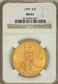 Saint-Gaudens Double Eagles: , 1909 $20 MS61 NGC. NGC Census: (266/620). PCGS Population(195/1338). Mintage: 161,282. Numismedia Wsl. Price for problemf...