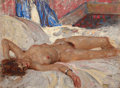 Mainstream Illustration, HARVEY T. DUNN (American, 1884-1952). Reclining Nude. Oil oncanvasboard. 11.5 x 15.5 in.. Signed lower right. ...