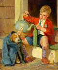 Mainstream Illustration, RUSSELL SAMBROOK (American, 1891-1956). Treating the Pooch.Oil on canvas. 34 x 28 in.. Signed lower right. ...