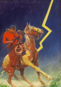 Pulp, Pulp-like, Digests, and Paperback Art, REMINGTON SCHUYLER (American, 1884-1955). A Lightning Strike,pulp cover, c. 1930s. Oil on canvas. 34.5 x 24.75 in.. Sig...