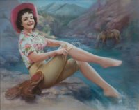 ZOE MOZERT (American, 1904-1993) Cowgirl with Toes in the Stream, 1960 Pastel on board 22.5 x 28