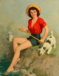 WALT OTTO (American, 1895-1963) Girl Fishing Oil on canvas 38 x 30 in. Signed lower right