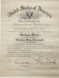 "Autographs:U.S. Presidents, [Woodrow Wilson] Leonard Wood Signed Parade Commission for the 1913Inauguration of President Wilson. One page, 12"" x 15.75""..."
