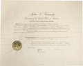 Autographs:U.S. Presidents, John F. Kennedy Appointment Signed as President, Counter-signed byRobert F. Kennedy as Attorney General. Oversized partly p...