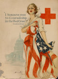 Mainstream Illustration, HARRISON FISHER (American, 1875-1934). I Summon You inComradeship in the Red Cross, 1918. Vintage lithograph. 40 x 30i...
