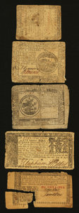 Colonial Notes:Mixed Colonies, Continental, Maryland, and New Jersey Paper Money.. ... (Total: 5notes)