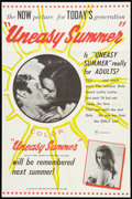 "Movie Posters:Sexploitation, Uneasy Summer (Charles Abrams, 1960). One Sheet (24.5"" X 37"").Sexploitation.. ..."