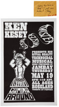 """Miscellaneous:Ephemera, Ken Kesey. Inscribed and Signed Poster for His Musical """"Twister.""""Poster for Kesey's 1994 musical """"Twister,"""" measuring 17 x ..."""