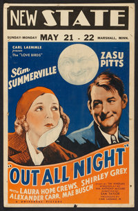 "Out All Night Lot (Universal, 1933). Window Cards (2) (14"" X 22""). Comedy. ... (Total: 2 Items)"
