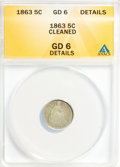 Seated Half Dimes: , 1863 H10C --Cleaned--ANACS. GD6 Details. NGC Census: (0/109). PCGSPopulation (1/138). Mintage: 18,000. Numismedia Wsl. Pric...