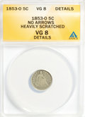 Seated Half Dimes, 1853-O H10C No Arrows--Heavily Scratched--ANACS. VG8 Details. NGCCensus: (0/19). PCGS Population (1/33). Mintage: 160,000....